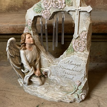 Always Remembered Forever Loved Memorial Angel & Small Chimes
