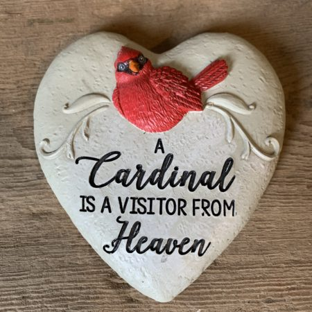 """A Cardinal is a Visitor From Heaven"" Heart Cardinal Stone"